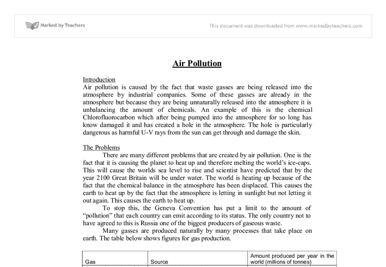 air pollution essay Free essays from bartleby | 1 definition of air pollution air pollution is the introduction of chemicals, particulate matter, or biological materials that.