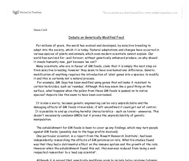 modified food essay Free modified foods papers, essays, and research papers.