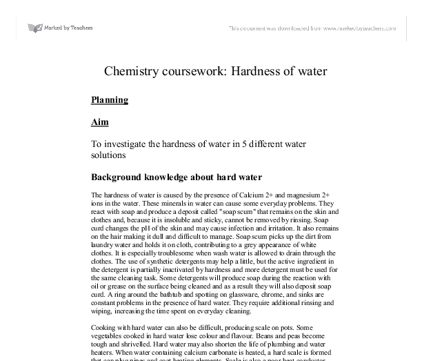 chemistry coursework hardness of water