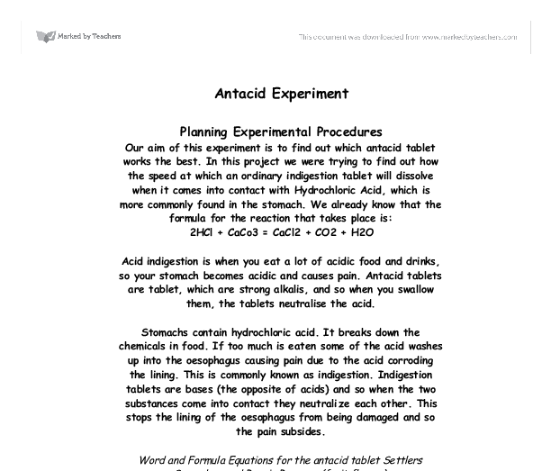 antacid experiment gcse science marked by teachers com document image preview