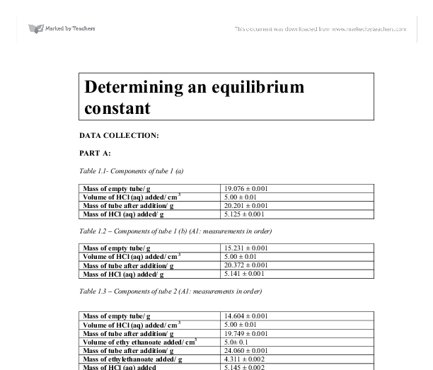determining an equilibrium constant essay Below is an essay on determining the equilibrium constant from anti essays, your source for research papers, essays, and term paper examples determining the equilibrium constant for the hydrolysis of an ester.