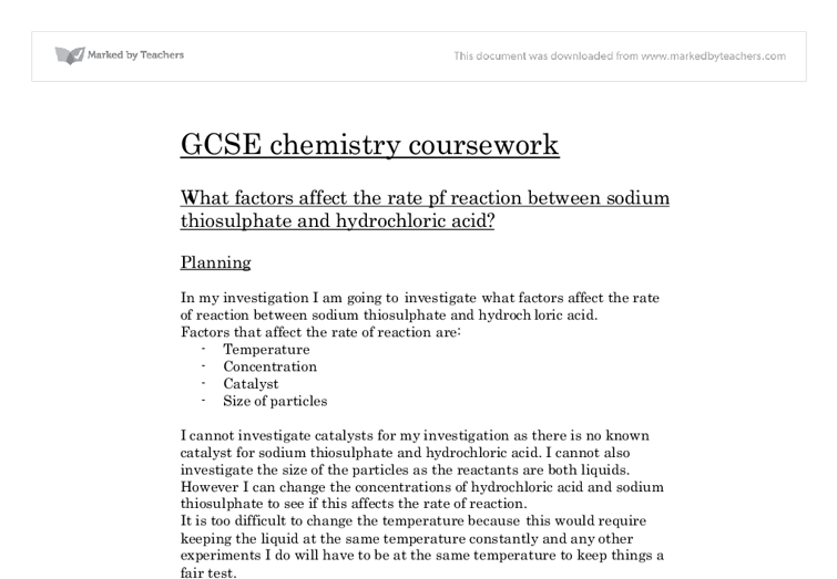sodium thiosulphate and hydrochloric acid gcse coursework