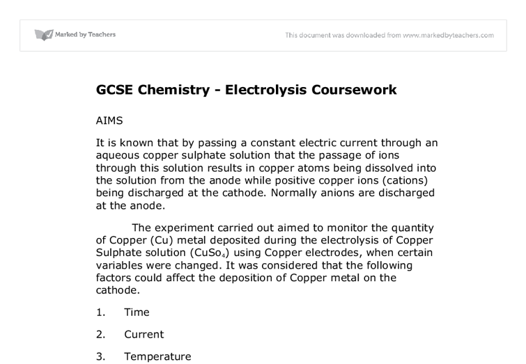 Chemistry coursework electrolysis