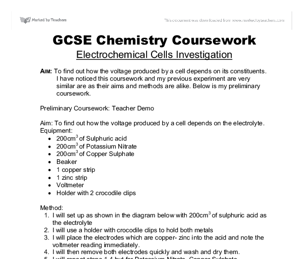Ocr 21st Century Science Coursework Help :: Sample of chemistry lab report
