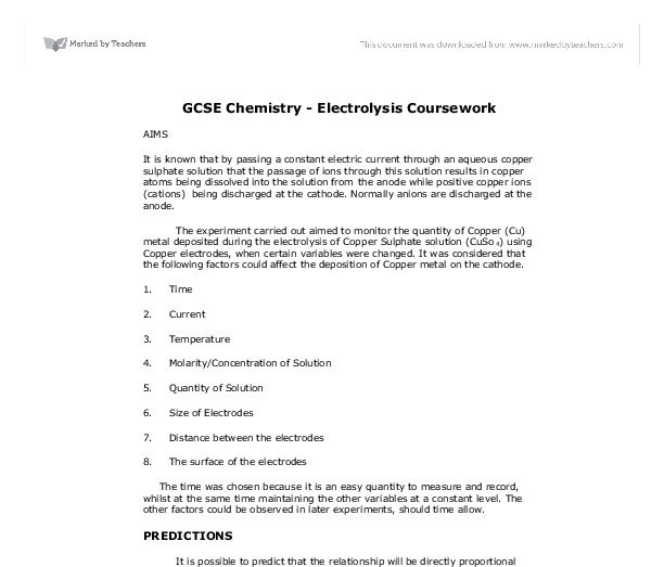 electrolysis coursework Find past papers and mark schemes for aqa exams, and specimen papers for three years because of copyright restrictions (except.