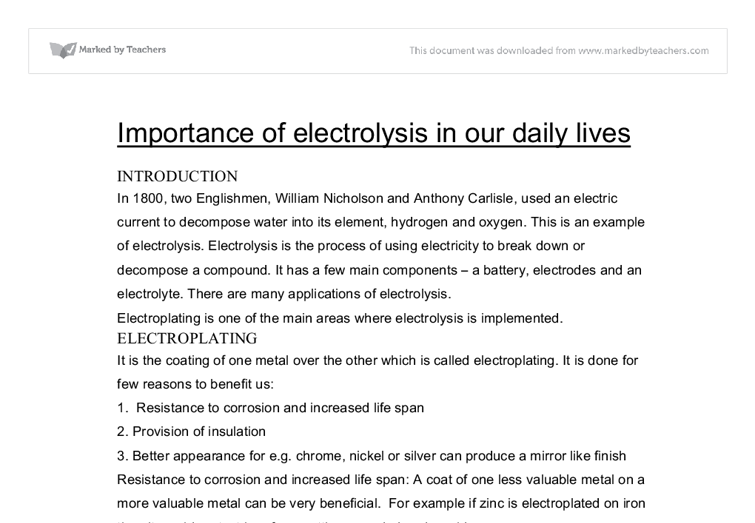 Rene Descartes Essay Importance Of Electrolysis In Our Daily Lives Gcse Science Document Image  Preview My Favorite Hobby Essay also College Essay On Leadership Chemistry In Our Daily Life Essay Importance Of Electrolysis In Our  Sample Definition Essay On Love