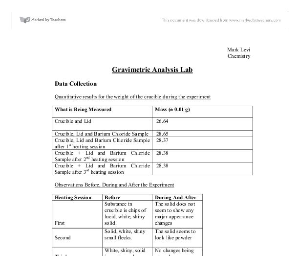 determination of chloride by gravimetric analysis