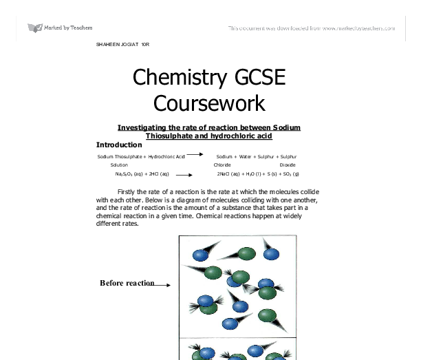 gcse science coursework chemistry Information about the edexcel gcse in science (2011) - individual sciences route, including the specification chemistry specification codes: 2ch01.