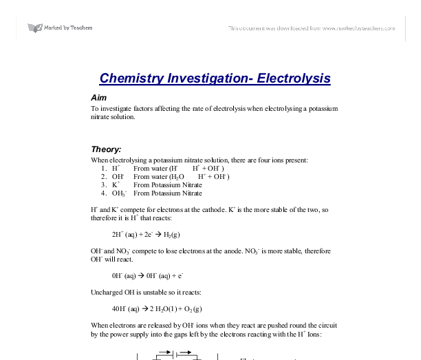 a potassium nitrate solution essay Essays on potassium nitrate nitric acid react together in solution to form potassium nitrate solution and water potassium chloride or potassium nitrate.