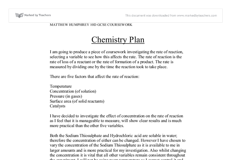 gcse chemistry coursework rates of reaction conclusion The chemistry gcse from oxford home schooling prepares our gcse chemistry course covered the entire how can we control the rates of chemical reactions.