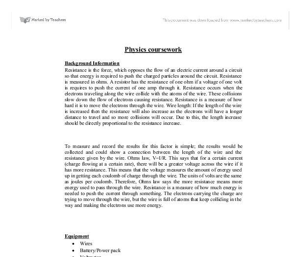 cgse physics coursework resistance in wire essay There debate douglas essay lincoln are many variables in this investigation the physics coursework resistance of a wire conclusion resistance of a wire.
