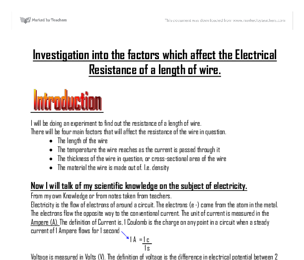 the factors affecting the resistance of a metalic conductor essay Class practical a simple investigation of the factors affecting the resistance of a wire.