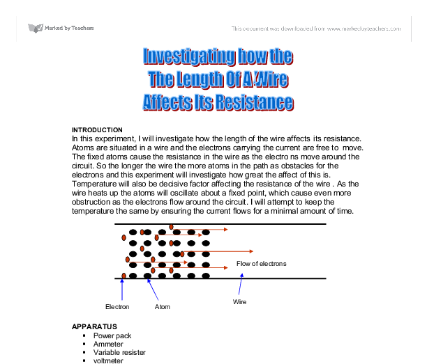 how does the length of a wire affect resistance in a circuit essay Potentialdifference resistance= current in my investigation we were finding out how resistance is affected by the legnth of a wire at studymoosecom you will find a wide variety of top-notch essay and term paper samples on any possible topics absolutely for free.
