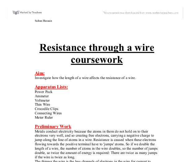 physics coursework resistance of a wire variables