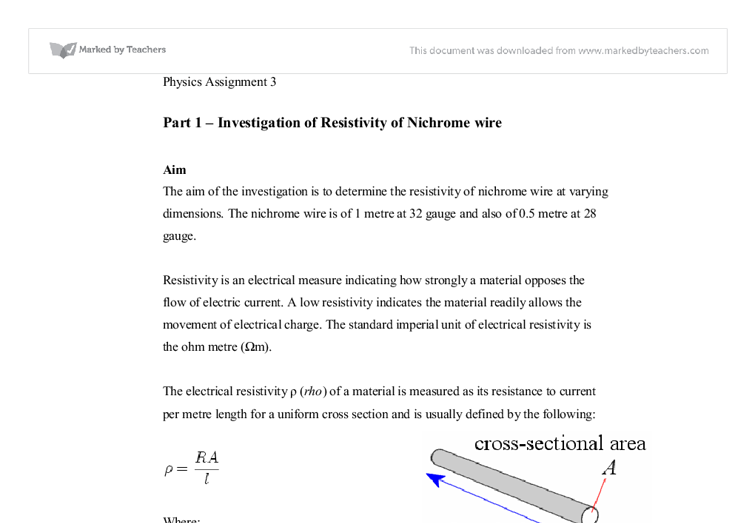 investigation on the resistance of nichrome wire essay An investigation into the resistance of a wire free gcse physics coursework essay 100cm nichrome wire.