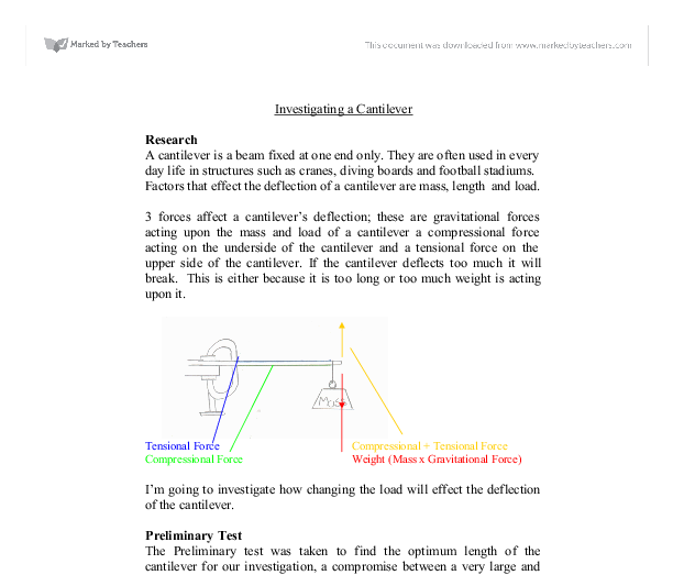 Investigating a Cantilever  - GCSE Science - Marked by