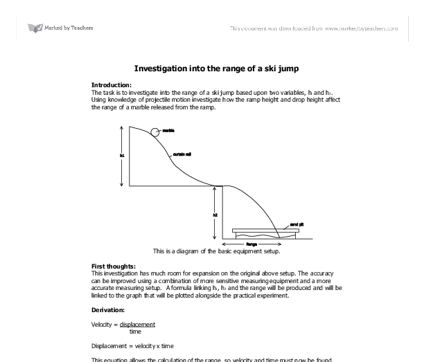 Investigation into the range of a ski jump - GCSE Science