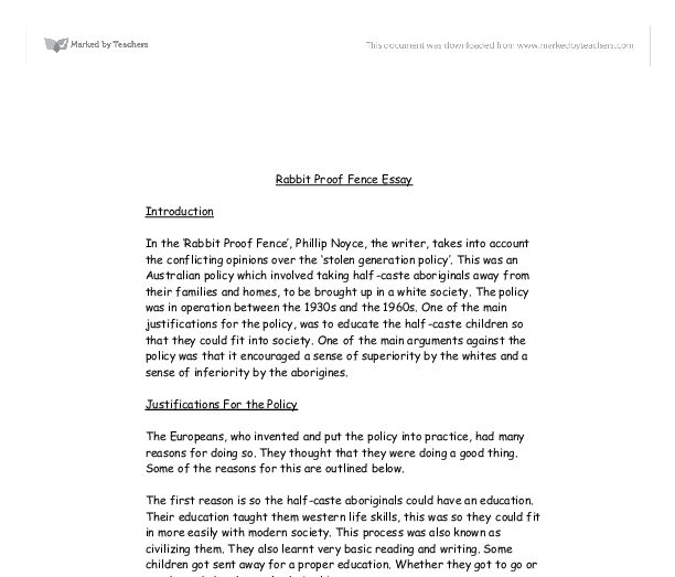 rabbit proof fence 2 essay Free essay: rabbit proof fence has been published both as a book and  b)  comparison of book and movie: 1) plot 2) character 3) settings.