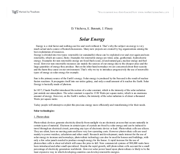 Essay on renewable energy