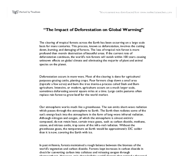 "The Impact of Deforestation on Global Warming"" - GCSE Science ..."