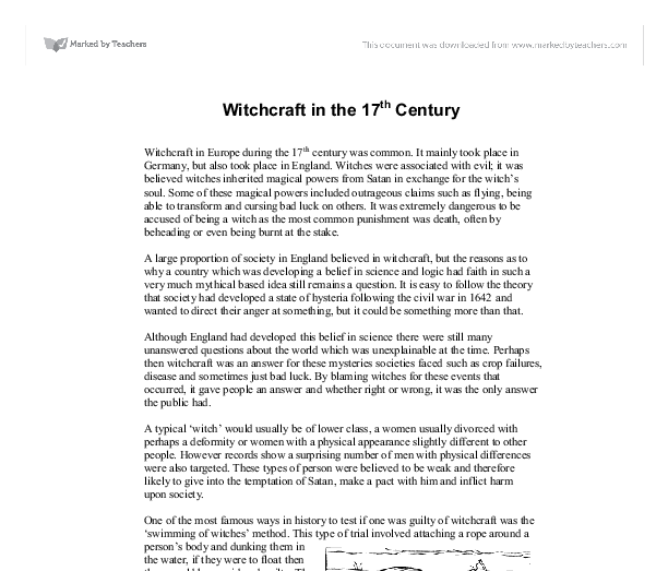 witchcraft in the th century gcse sociology marked by  document image preview