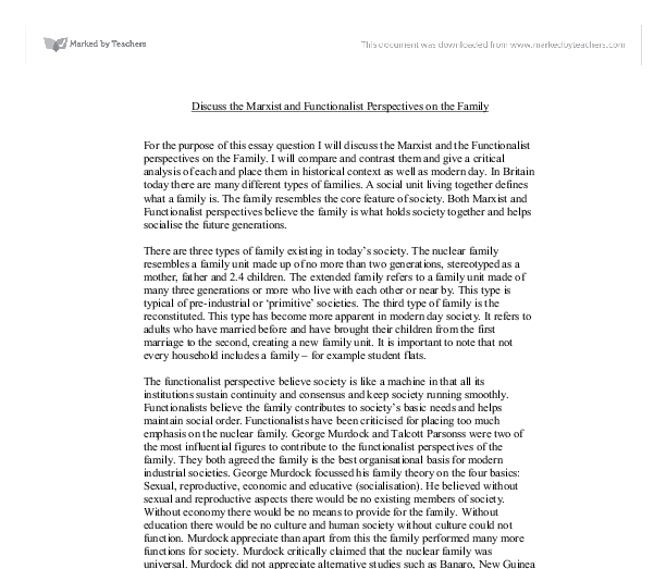 Sociology essay on family