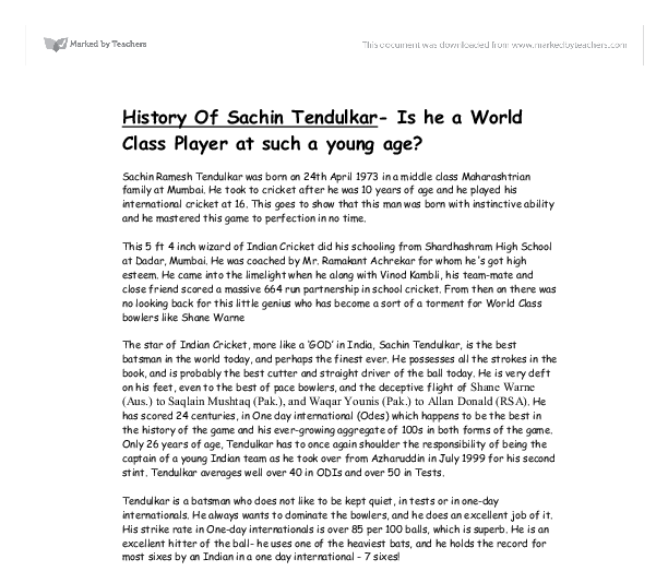 history of sachin tendulkar is he a world class player at such a document image preview