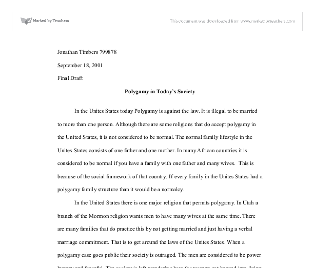Short Essay on Polygamy (1044 Words)