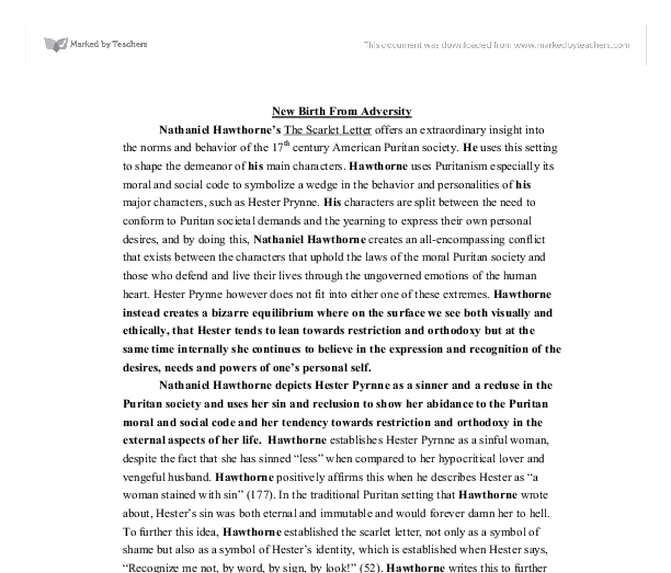Essay on the scarlet letter