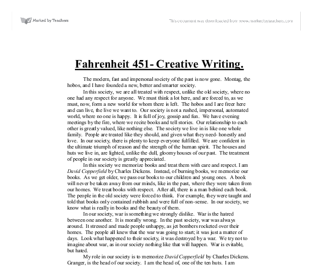 fahrenheit 451essay Starting an essay on ray bradbury's fahrenheit 451 organize your thoughts  and more at our handy-dandy shmoop writing lab.