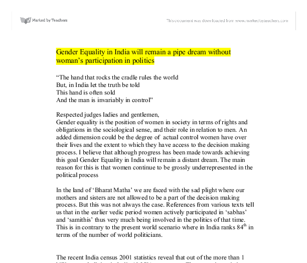 simple essay gender equality