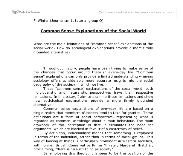 Sociology vs common sense essay