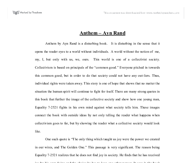 anthem ayn rand gcse sociology marked by teachers com document image preview