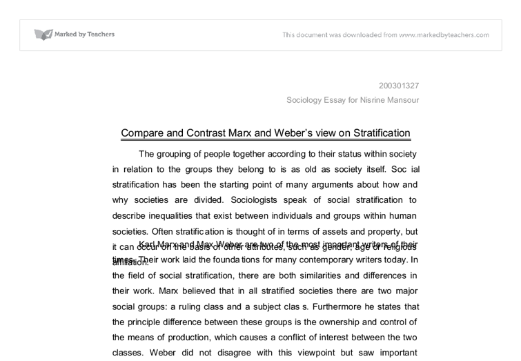 compare and contrast marx and weber s view on stratification  document image preview