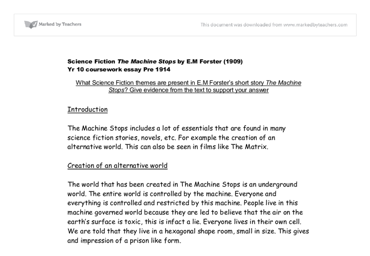 what science fiction themes are present in em forsters short story  document image preview