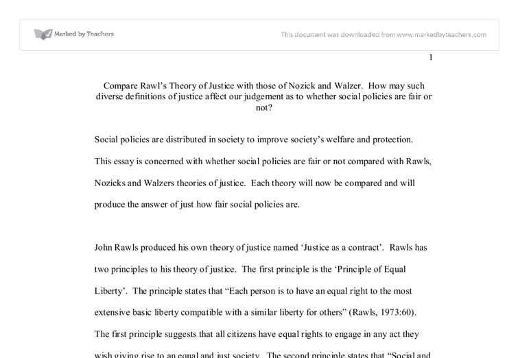 compare rawl s theory of justice those of nozick and walzer  document image preview
