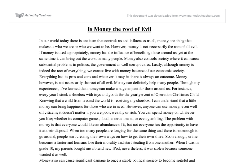 Is money the root of all evil - GCSE Sociology - Marked by ...