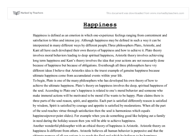 the how of happiness essay It has to do with an old fable in which a cat approaches a kitten chasing his tail he ask the kitten why he was so aggressively chasing his own tail the kitten said that after studying very hard he had come to the conclusion that happiness i.