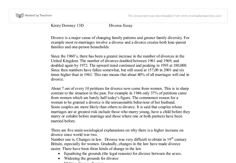 divorce essay gcse sociology marked by teachers com document image preview
