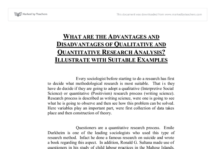 Advantages and Disadvantages of Quantitative research.