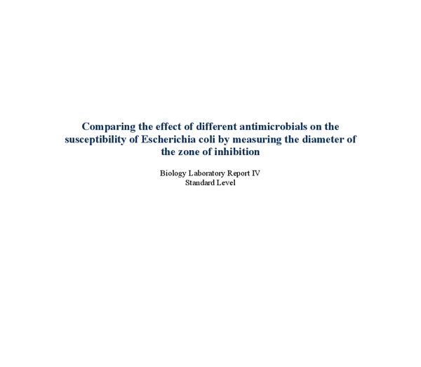 comparing the effect of different antimicrobials on the growth of escherichia coli essay Antimicrobial activity of different toothpastes on dental bacteria abstract this in-vitro experiment conducted to test antimicrobial activity of different toothpastes on dental bacteria.