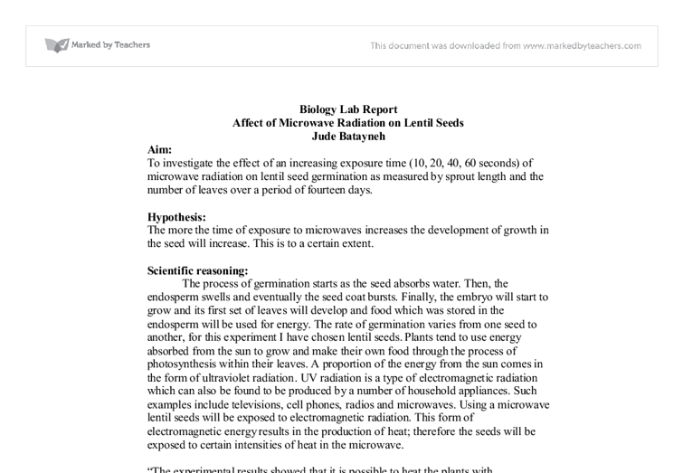 biological molecule lab report A biology resource site for teachers and students which includes lesson plans, student handouts, powerpoint presentations and laboratory investigations.