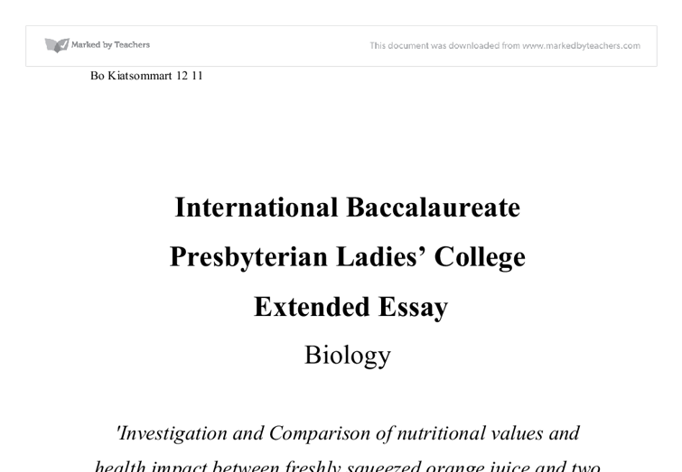 Cover page of ib extended essay