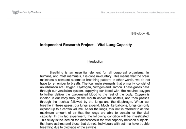 Independent Research Project Vital Lung Capacity