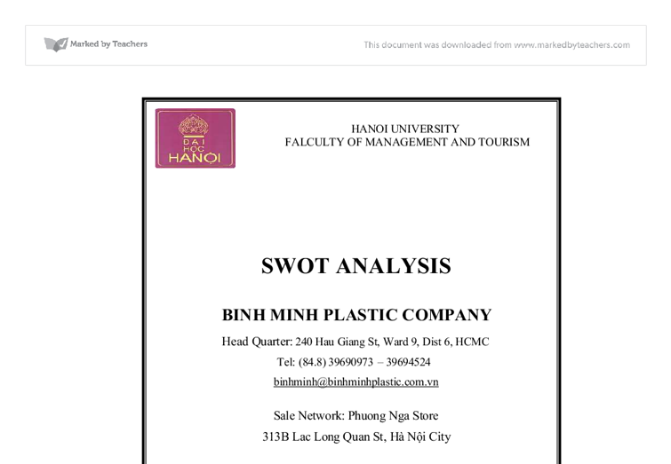 swot analysis binh minh plastic company vietnam international  document image preview