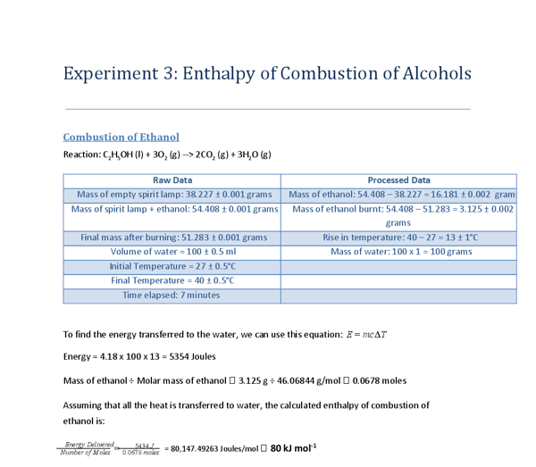 The combustion of Alcohols investgation Essay Sample