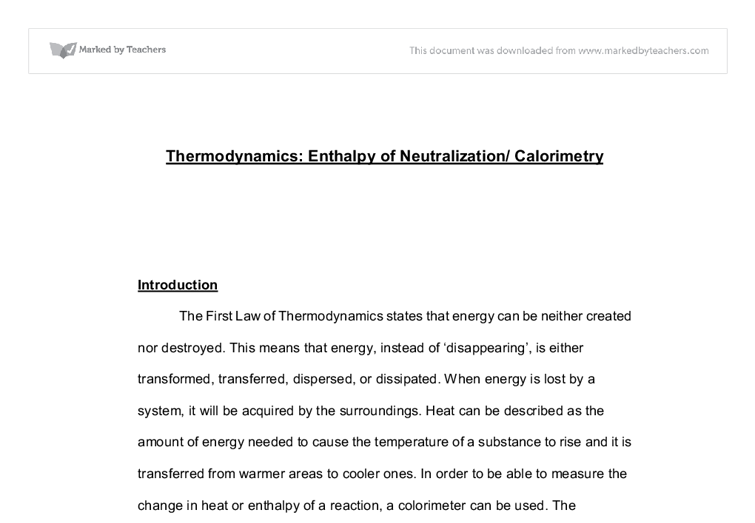 Thermodynamics: Enthalpy of Neutralization and Calorimetry