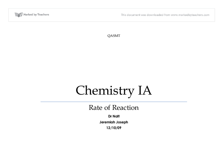 chemistry ia design format essay Follow a standard format the formal elements are: title page, table of contents, page numbers, illustrative material, quotations, documentation (including references, citations and bibliography) and appendices (if used.