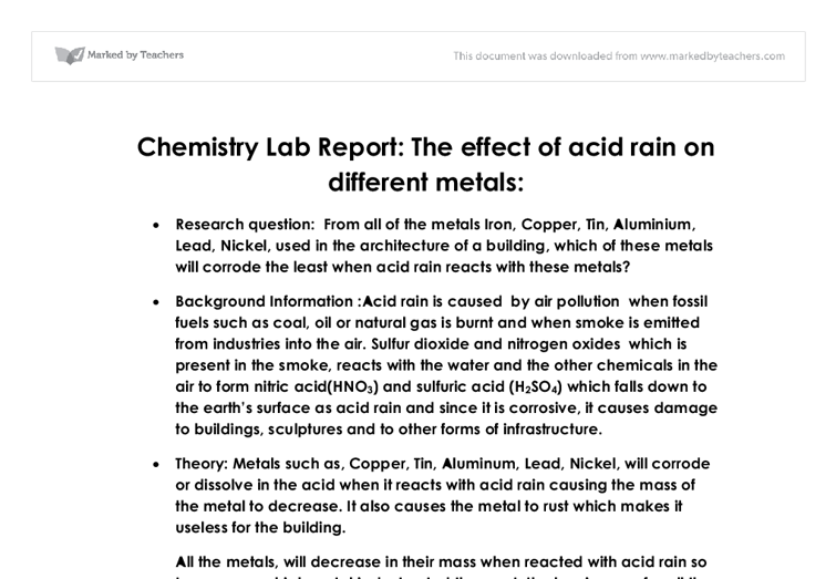 short essay on acid rain