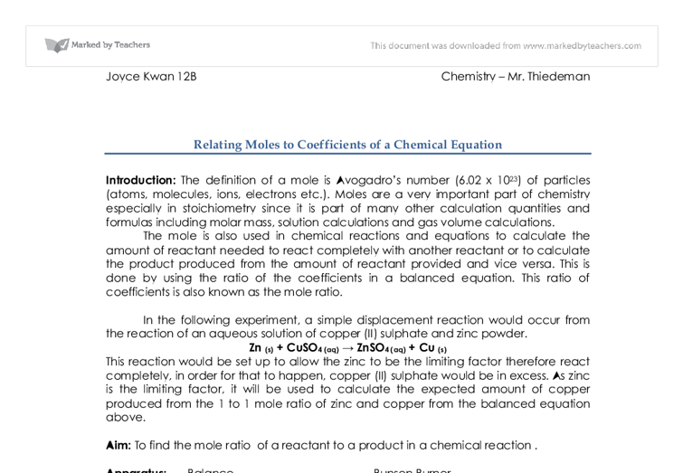 relating moles to coefficients of a chemical equation essay Chemistry-chaper 12-stoichiometry-practice exercising of measurement related to the unit mole coefficients in a chemical equation indicate the.